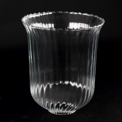 Grande coppa diffusore in vetro soffiato e rigato Ø17 x h20 cm con foro 4 cm