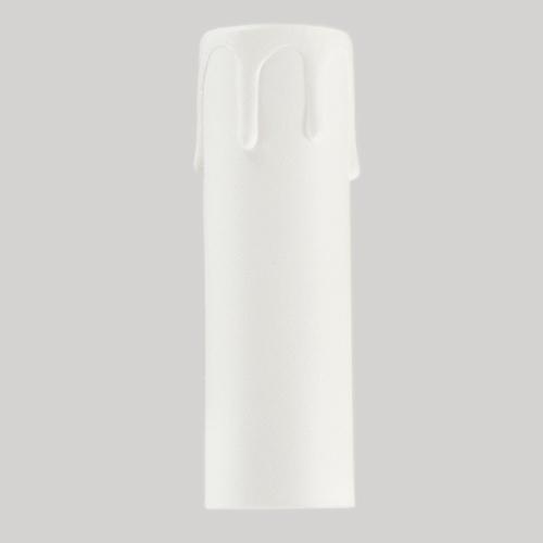 Guscio copri porta-lampada E14 guscio bianco finta candela plastica h 85 mm