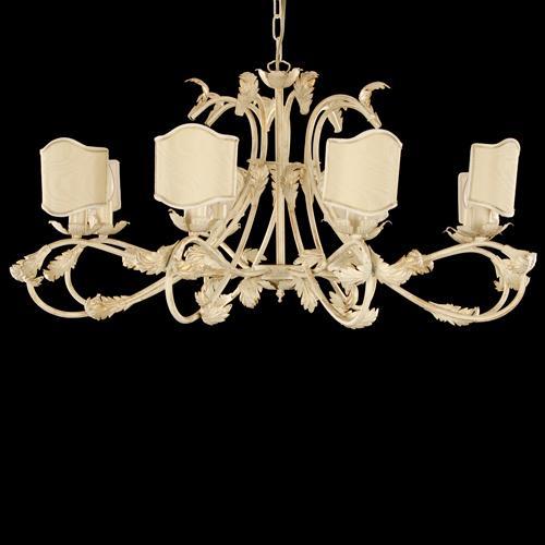 Lampadario 8 luci avorio spennellato oro con paralume avorio.