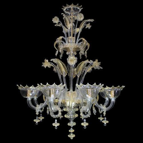 Lampadario classico veneziano 8 luci cristallo e oro in vetro di Murano
