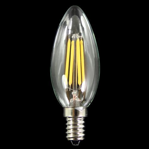 Lampadina con 4 strisce Led COB lineari, attacco E14, 4W 230V, luce calda 3000K.