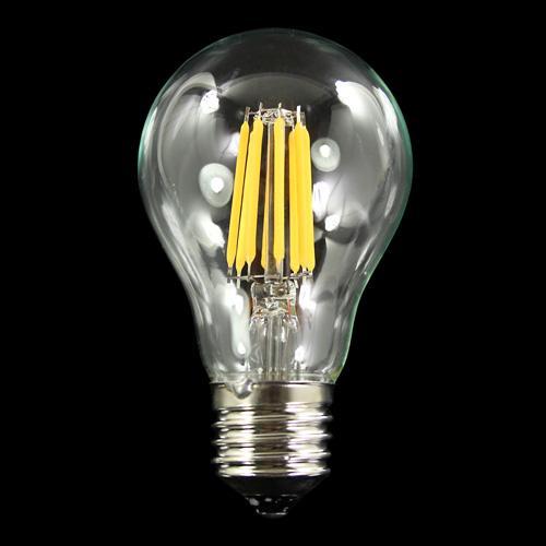 Lampadina con 6 strisce Led COB lineari, attacco E27, 6 W 230V, luce calda 3000K.