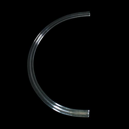 Listello Ø 250 mm in vetro colore puro, forma a semicerchio, foro passante.