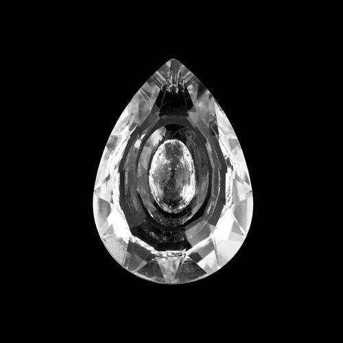 Mandorla goccia pendente 38 mm cristallo vetro molato colore trasparente.