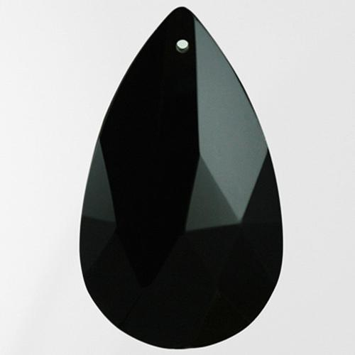 Mandorla pendente 50 mm cristallo vetro molato nero
