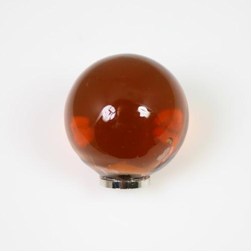 Maniglia pomello sfera ambra Ø25 vetro di Murano con filettatura M4 Femmina