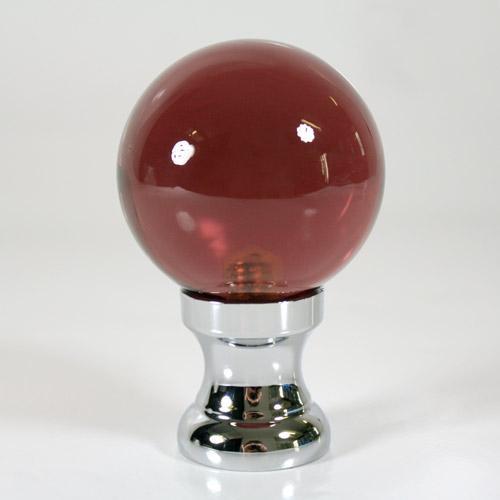 Maniglia pomello sfera ametista Ø50 vetro di Murano rocchetto nikel.