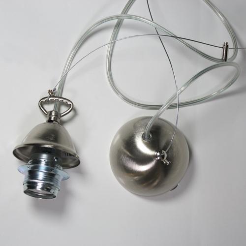 Montatura 1 luce sospensione E27 nikel spazzolato: corona + cavo acciaio + cavo pvc trasparente