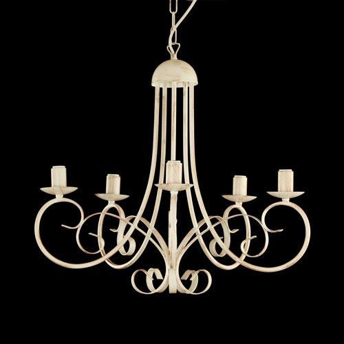 Montatura lampadario a 5 luci colore avorio con pennellate marroni
