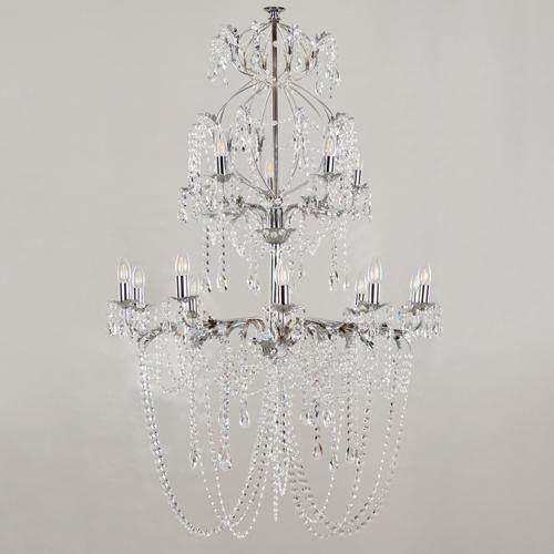 Montatura lampadario cromato 10+5 luci, con foglie stilizzate