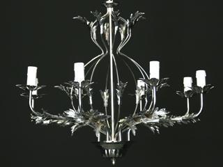 Montatura lampadario cromato 8 luci con foglie stilizzate