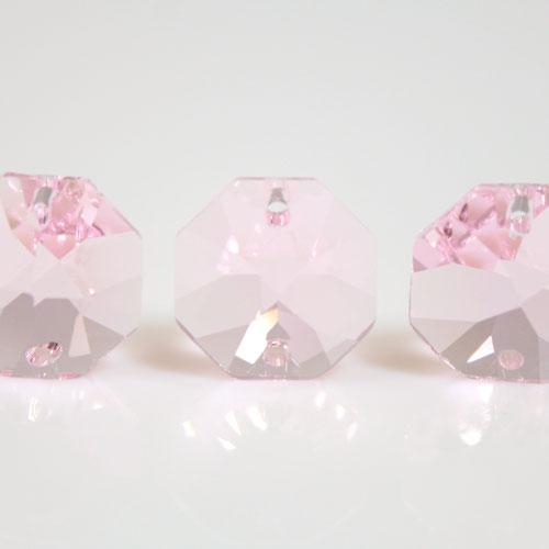 Ottagono 14 mm Rosaline cristallo sfaccettato due fori -Asfour 1080-