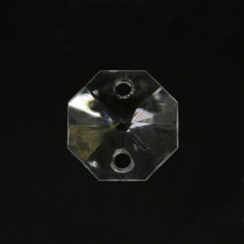 Ottagono 14 mm, cristallo acrilico sfaccettato 2 fori, colore puro