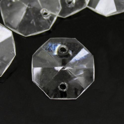 Ottagono 16 mm, cristallo acrilico sfaccettato 2 fori, colore puro