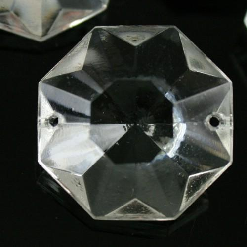 Ottagono 28 mm vetro veneziano colore puro trasparente, 2 fori