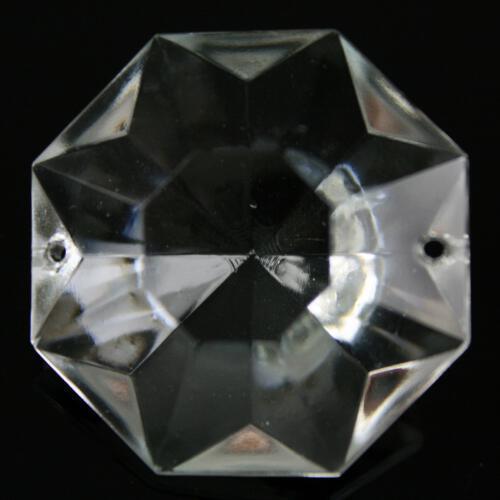 Ottagono 34 mm vetro veneziano colore puro trasparente, 2 fori