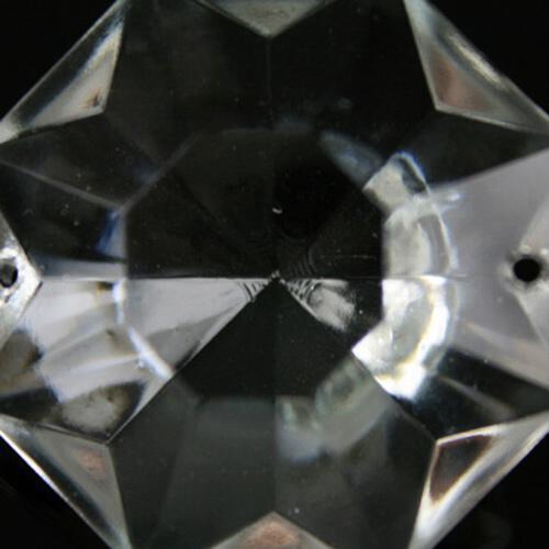Ottagono 40 mm vetro veneziano colore puro trasparente, 2 fori