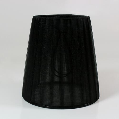 Paralume  Ø12 Ø8 h12 cm tronco conico rivestito da velo siena organza nera. Montatura nera a molla.
