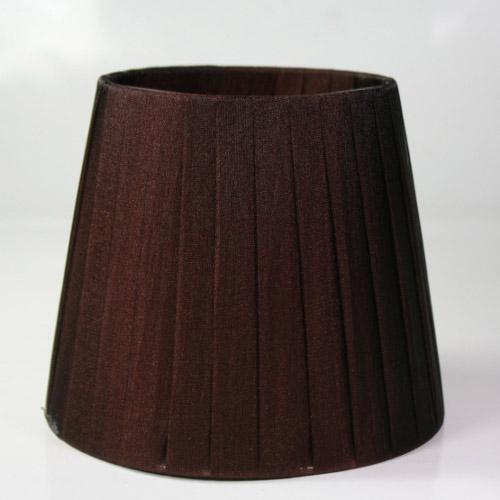 Paralume 14x10x12 cm tronco conico rivestito da organza marrone n°4. Montatura argento attacco a molla.