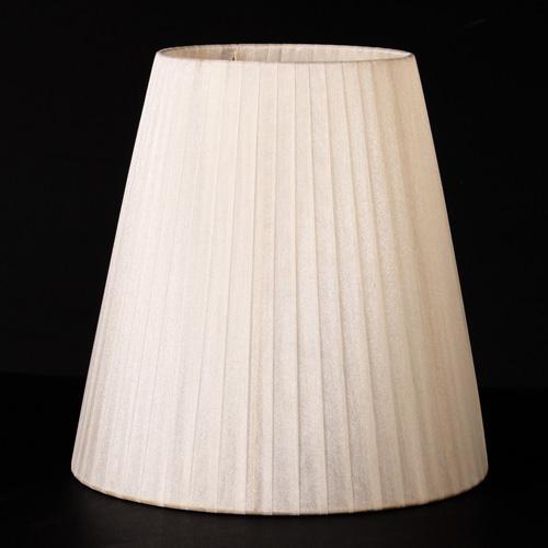 Paralume Ø25 Ø15 h25 cm tronco conico rivestito da velo organza avorio n°21. Montatura oro ghiera E14.