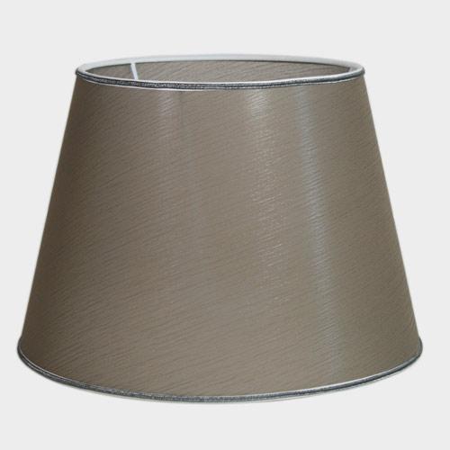 Paralume Ø30 Ø20 h22 cm tronco conico tessuto color tortora, passamaneria argento. Attacco E27