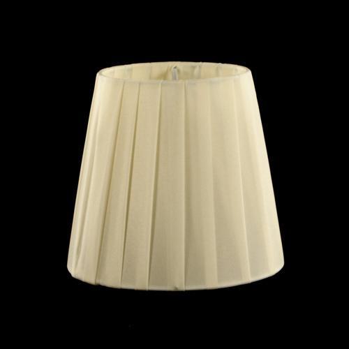 Paralume tronco cono Ø13 x Ø9 x h12 cm - cotonette plissè avorio - attacco a molla - telaio bianco