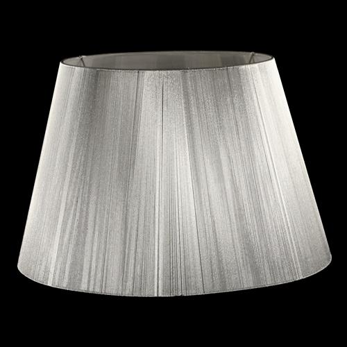 Paralume tronco cono Ø45 x Ø30 x h30 cm - fili di tessuto argento - attacco E27 - telaio bianco