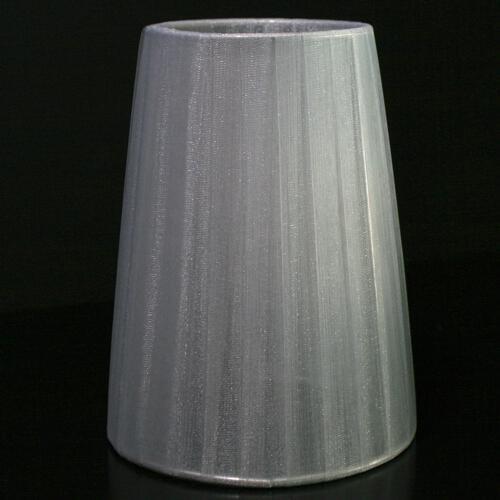 Paralume12x8x16 cm rivestito da velo siena grigio chiaro. Montatura argento a molla.
