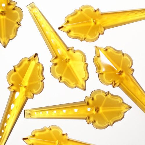 Pendente 130 mm cristallo di Boemia. Placca goccia ambra con foro d'attacco