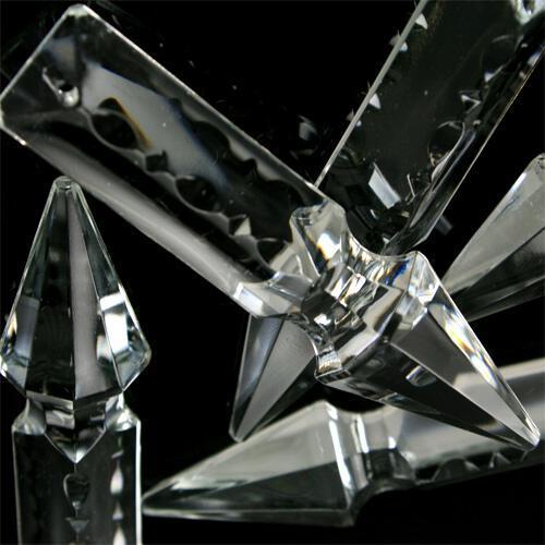 Pendente freccia 76 mm con foro in vetro cristallo stampato lucidato