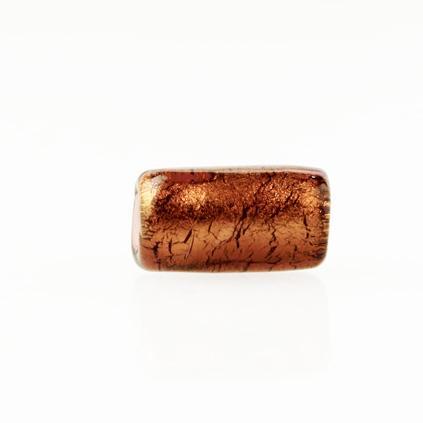 Perla di Murano cilindro Sommerso Ø8x15. vetro ametista, foglia oro. Foro passante.