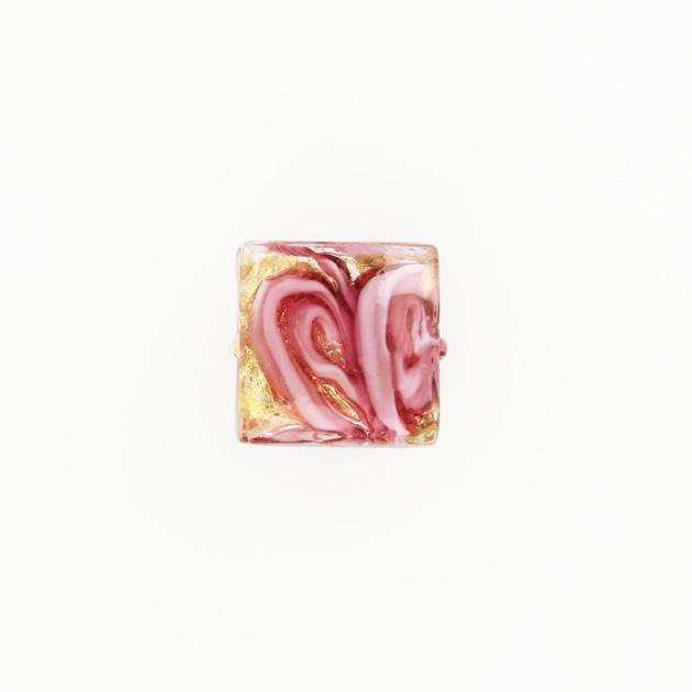 Perla di Murano quadrata Medusa Ø14. Vetro rubino, foglia oro e avventurina. Foro passante.