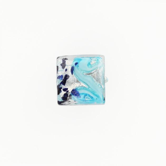 Perla di Murano quadrata Medusa Ø14. Vetro turchese, foglia argento e avventurina. Foro passante.