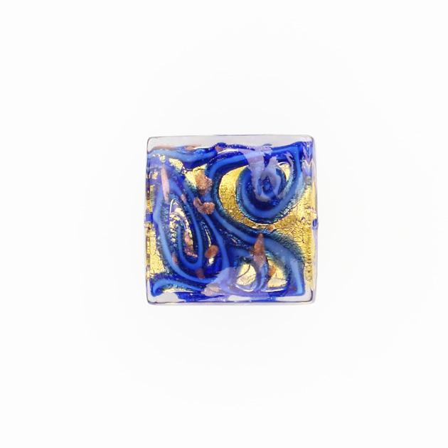Perla di Murano quadrata Medusa Ø18. Vetro blu, foglia oro e avventurina. Foro passante.