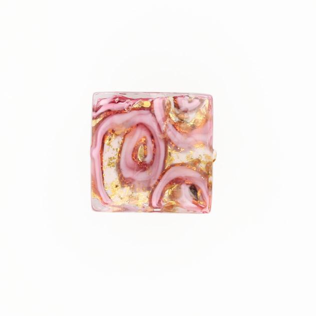 Perla di Murano quadrata Medusa Ø18. Vetro rubino, foglia oro e avventurina. Foro passante.