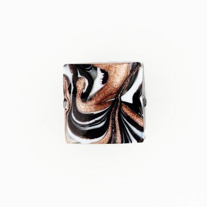 Perla di Murano schissa Fenicio Ø18. Vetro bianco, grigio, nero e avventurina. Foro passante.