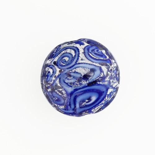 Perla di Murano schissa Medusa Ø30. Vetro blu , foglia argento e avventurina. Foro passante.