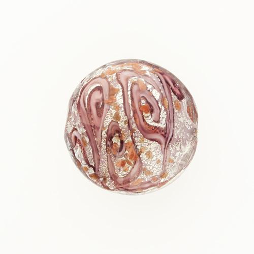 Perla di Murano schissa Medusa Ø30. Vetro rosa, foglia argento e avventurina. Foro passante.