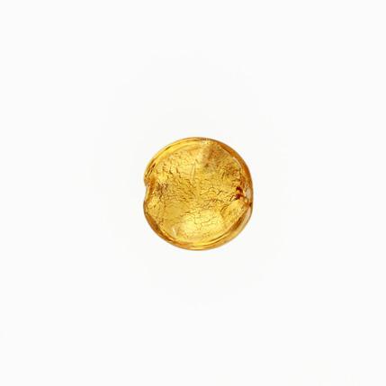 Perla di Murano schissa Sommersa Ø14. Vetro ambra e foglia oro. Foro passante.