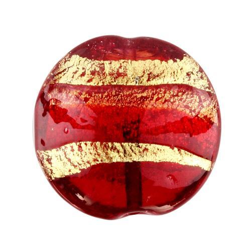 Perla di Murano schissa Sommersa Ø24. Vetro rosso, ametista, foglia oro. Foro passante.