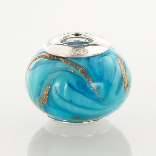 Perla di Murano stile Pandora Fenicio Ø13. Vetro turchese e avventurina. Borchia argento 925. Foro passante.