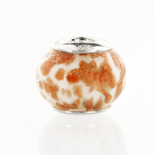 Perla di Murano stile Pandora Sommersa Ø13. Vetro bianco seta e avventurina. Borchia argento 925. Foro passante.