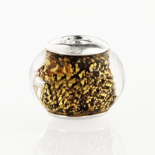 Perla di Murano stile Pandora Sommersa Ø13. Vetro nero, foglia oro. Borchia argento 925. Foro passante.