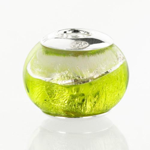 Perla di Murano stile Pandora Sommersa Ø13. Vetro verde chiaro, foglia argento. Borchia argento 925. Foro passante.