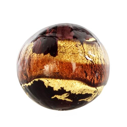 Perla di Murano tonda Sommersa Ø14. Vetro ametista chiaro e scuro, foglia oro. Foro passante.