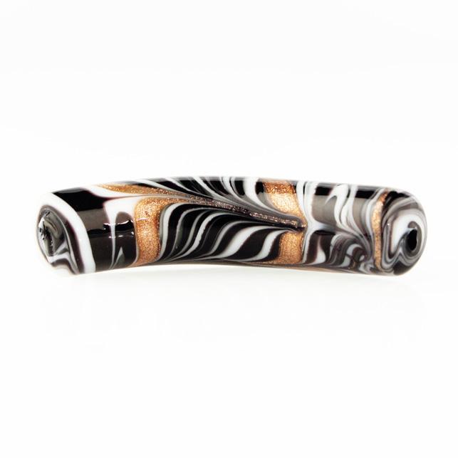 Perla di Murano tubo curvo Fenicio Ø10x48. Vetro bianco, nero e avventurina. Foro passante.