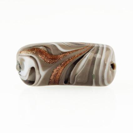 Perla di Murano tubo curvo Fenicio Ø9x23. Vetro bianco, grigio e avventurina. Foro passante.