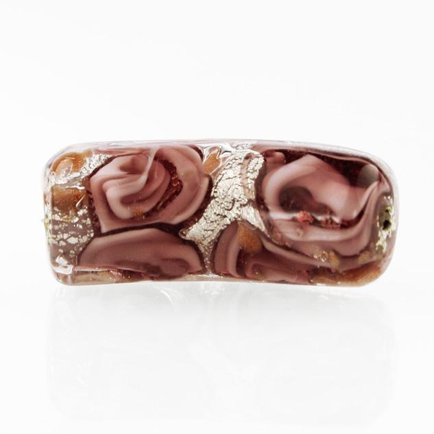 Perla di Murano tubo curvo Medusa Ø9x22. Vetro rosa, foglia argento e avventurina. Foro passante.