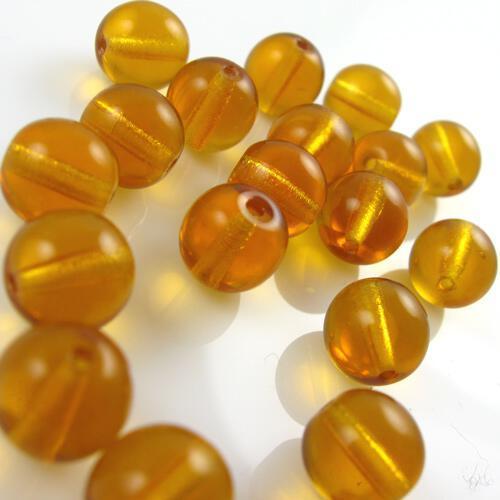 Perla tondino 12 mm ambra in vetro veneziano, foro passante.