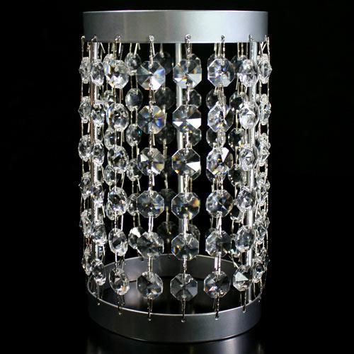 Portacandela lanterna cromo con catene di ottagoni in cristallo Ø10 x h18 cm.